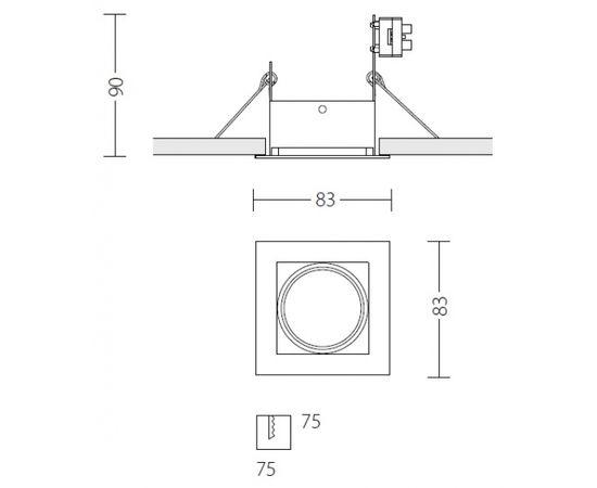 Встраиваемый светодиодный светильник Quattrobi MICROQUADRO LED, фото 3