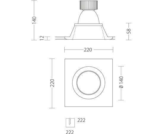 Встраиваемый светодиодный светильник Quattrobi GESSO LED, фото 5