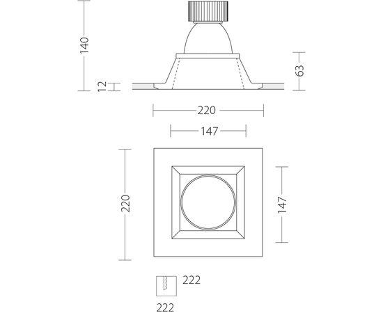 Встраиваемый светодиодный светильник Quattrobi GESSO LED, фото 7