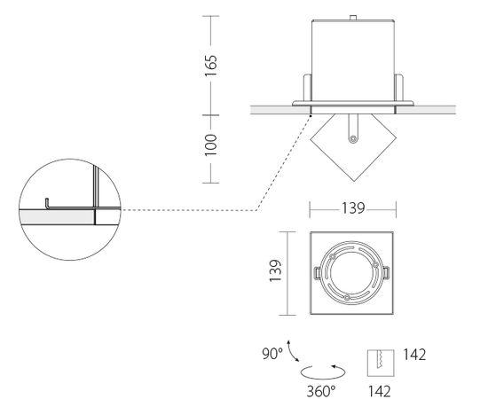 Встраиваемый светодиодный светильник Quattrobi KOR single light, фото 4
