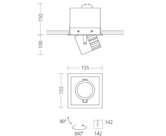 Встраиваемый светодиодный светильник Quattrobi MINI MAX INCASSO, фото 3