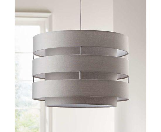 Подвесной светильник Crate and Barrel Harlow Grey Drum Pendant Light, фото 3