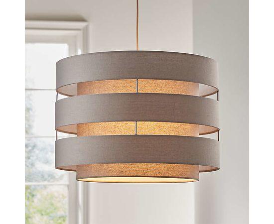 Подвесной светильник Crate and Barrel Harlow Grey Drum Pendant Light, фото 1
