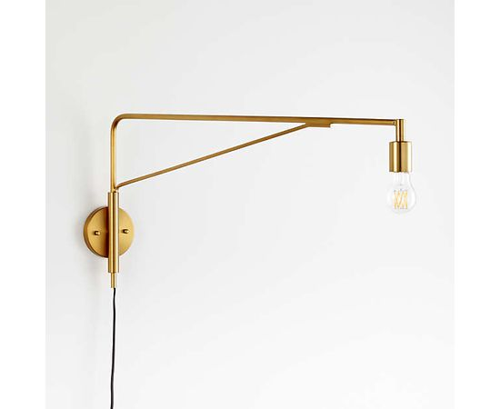 Настенный светильник Crate and Barrel Nors Antique Brass Wall Sconce, фото 2