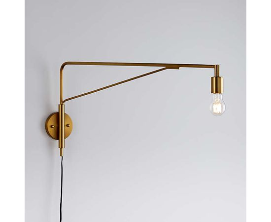 Настенный светильник Crate and Barrel Nors Antique Brass Wall Sconce, фото 1