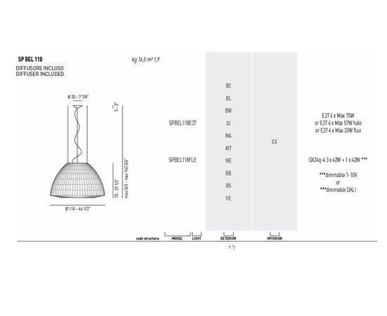 Подвесной светильник Axo Light (Lightecture) Bell SPBEL118E27, фото 5