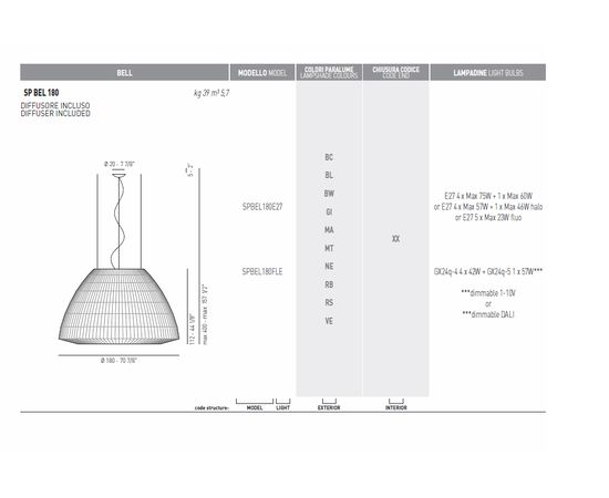 Подвесной светильник Axo Light (Lightecture) Bell SPBEL180FLE, фото 5