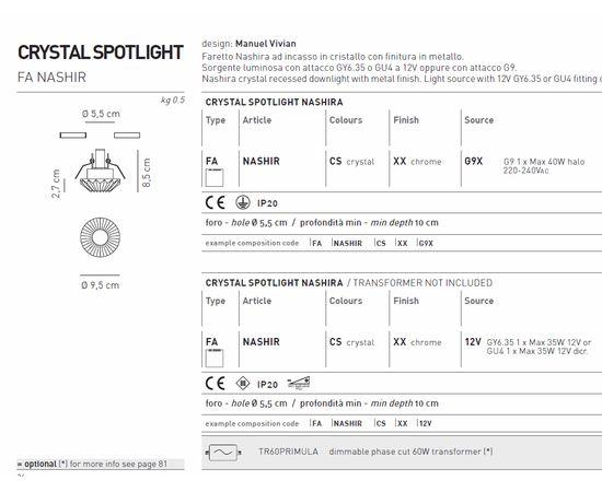 Встраиваемый в потолок светильник Axo Light Crystal spotlight FANASHIR, фото 2