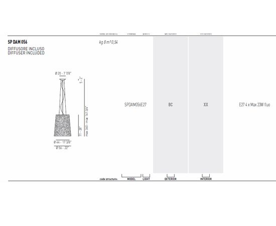 Подвесной светильник Axo Light (Lightecture) Damasco SPDAM056E27, фото 2