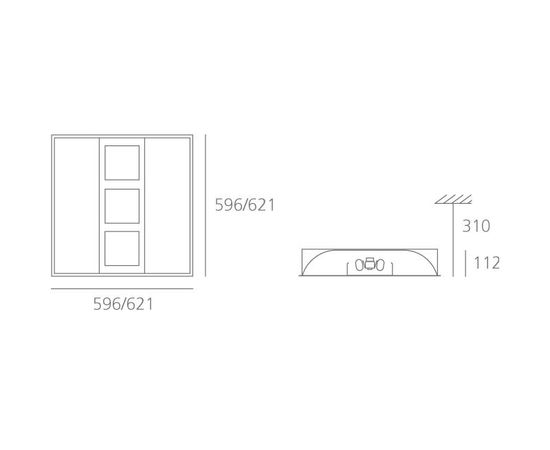 Встраиваемый в потолок светильник Artemide Architectural Bolero 600x600mm + Emergency, фото 3
