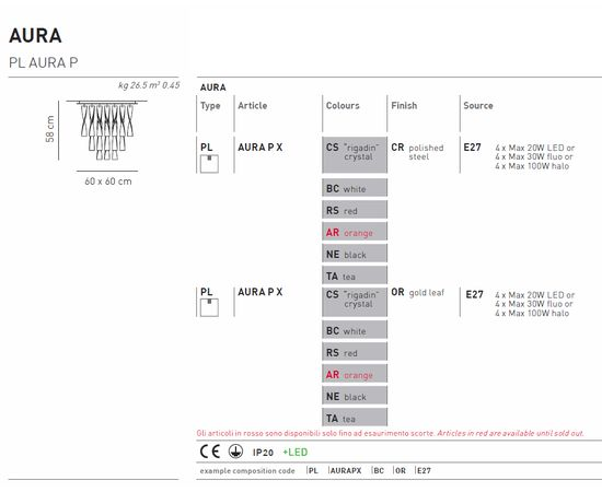 Потолочный светильник Axo Light Aura PL AURA P, фото 4