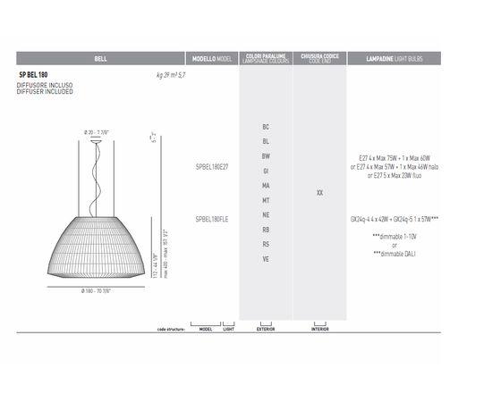 Подвесной светильник Axo Light (Lightecture) Bell SPBEL180E27, фото 7