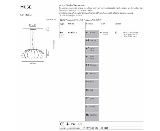 Подвесной светильник Axo Light Muse SP MUSE, фото 8