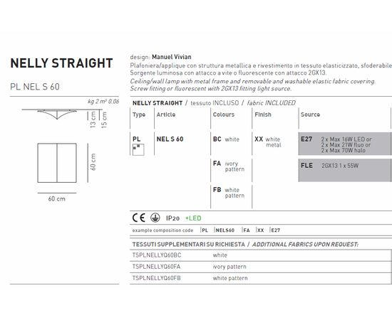 Потолочный светильник Axo Light Nelly Straight PL NEL S 60, фото 6