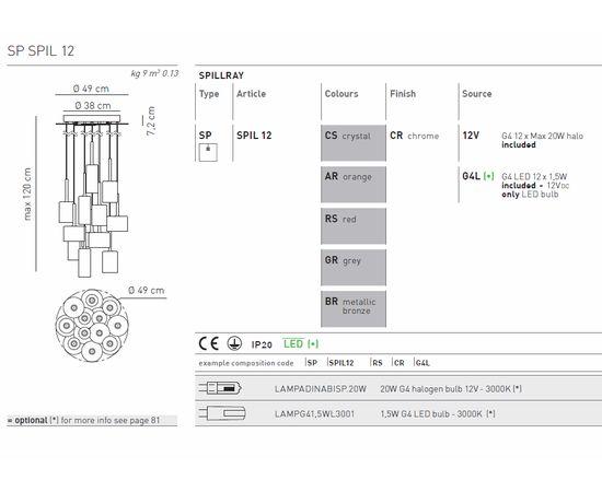 Подвесной светильник Axo Light Spillray SP SPIL 12, фото 5