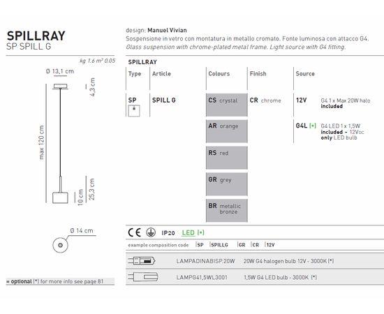 Подвесной светильник Axo Light Spillray SP SPILL G CR, фото 4