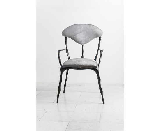 Стул с подлокотниками Markus Haase Faceted Bronze Patina Dining Chair with Arms, фото 8