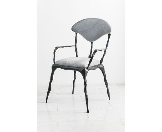 Стул с подлокотниками Markus Haase Faceted Bronze Patina Dining Chair with Arms, фото 7