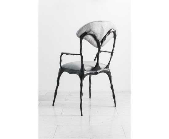 Стул с подлокотниками Markus Haase Faceted Bronze Patina Dining Chair with Arms, фото 5