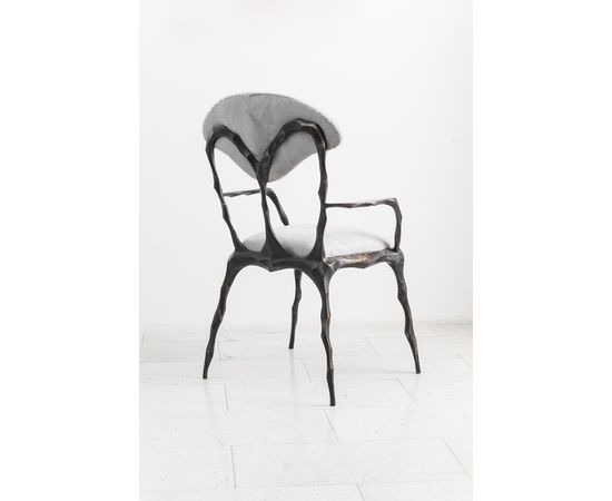 Стул с подлокотниками Markus Haase Faceted Bronze Patina Dining Chair with Arms, фото 4