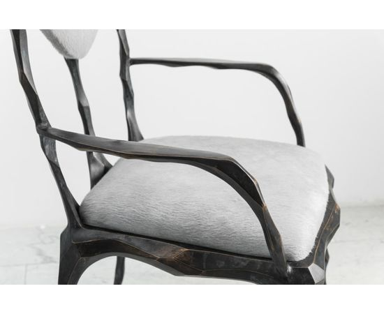 Стул с подлокотниками Markus Haase Faceted Bronze Patina Dining Chair with Arms, фото 3