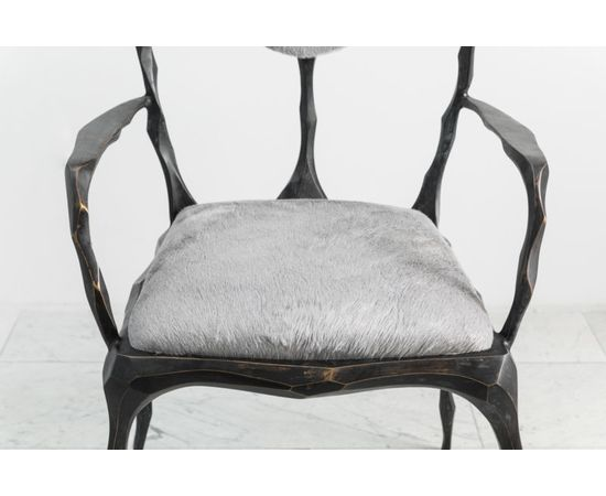 Стул с подлокотниками Markus Haase Faceted Bronze Patina Dining Chair with Arms, фото 2