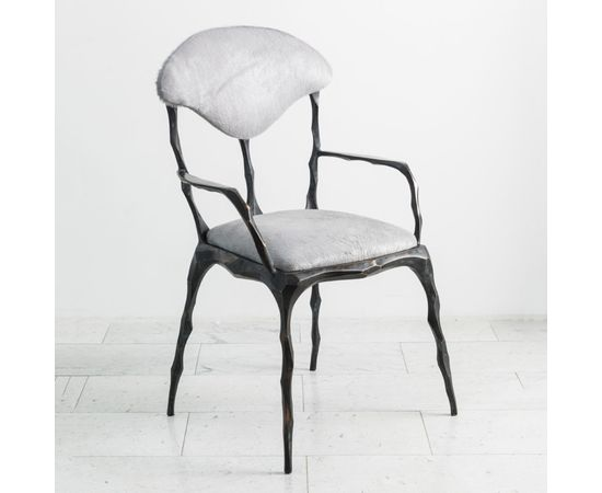 Стул с подлокотниками Markus Haase Faceted Bronze Patina Dining Chair with Arms, фото 1